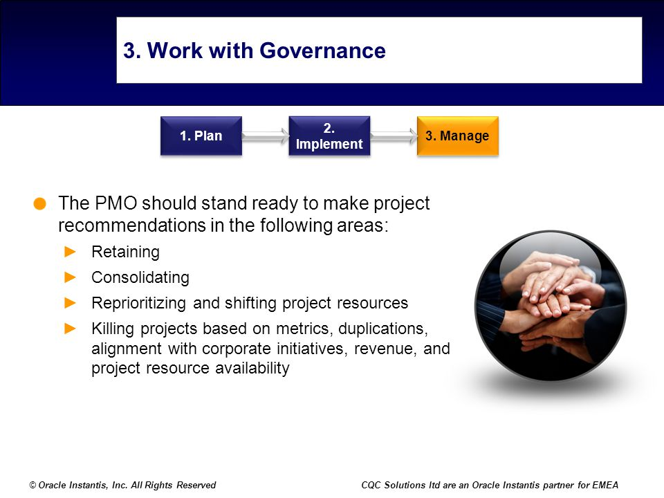 3. Work with Governance 1. Plan. 2. Implement. 3. Manage. The PMO should stand ready to make project recommendations in the following areas: