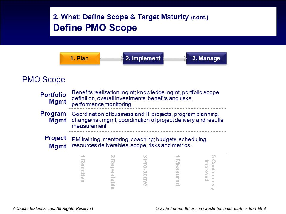 2. What: Define Scope & Target Maturity (cont.) Define PMO Scope