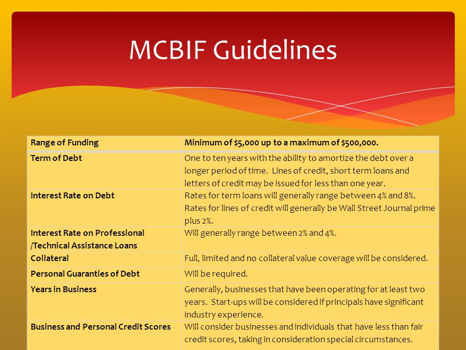MCBIF Guidelines Range of Funding
