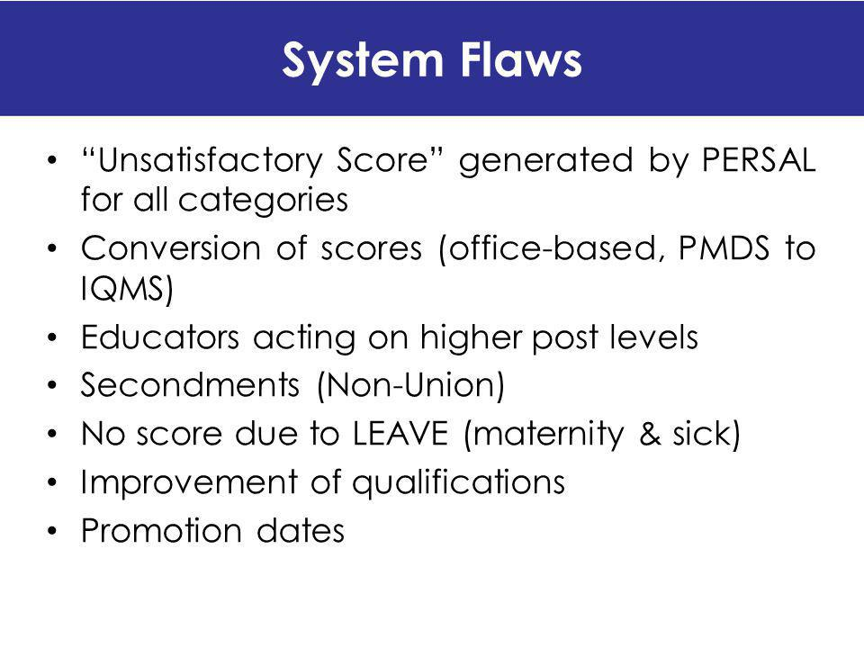 System Flaws Unsatisfactory Score generated by PERSAL for all categories. Conversion of scores (office-based, PMDS to IQMS)