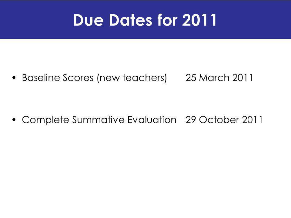 Due Dates for 2011 Baseline Scores (new teachers) 25 March 2011
