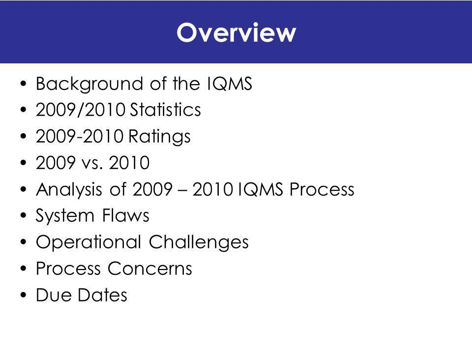 Overview Background of the IQMS 2009/2010 Statistics 2009-2010 Ratings