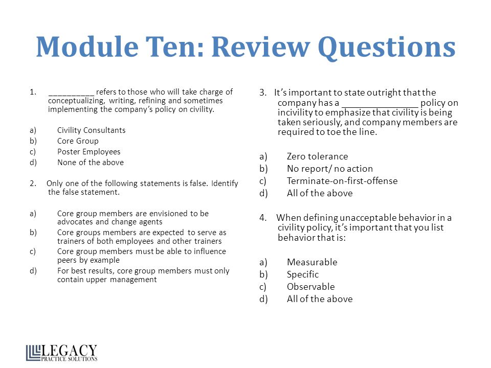 Module Ten: Review Questions