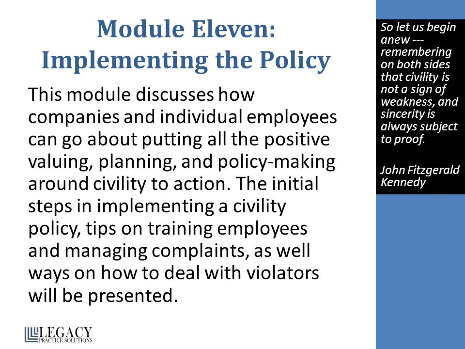 Module Eleven: Implementing the Policy