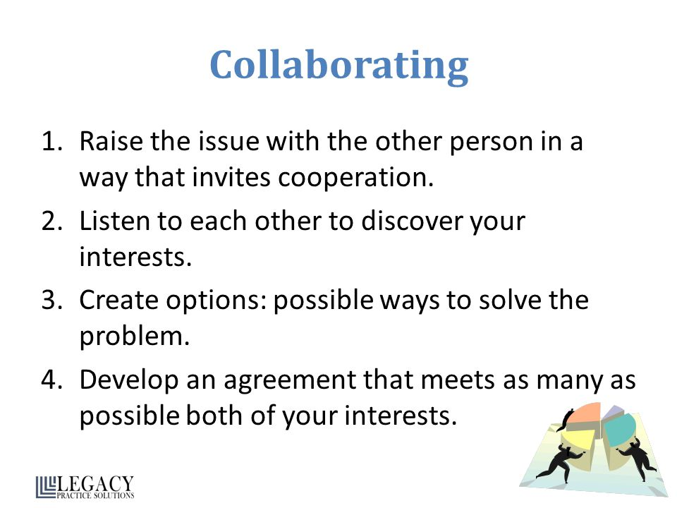 Collaborating Raise the issue with the other person in a way that invites cooperation. Listen to each other to discover your interests.