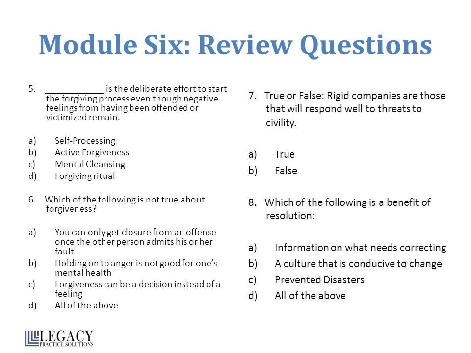 Module Six: Review Questions