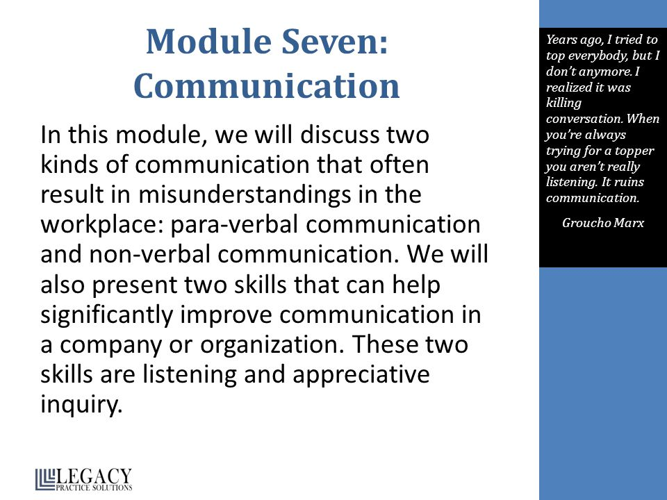 Module Seven: Communication