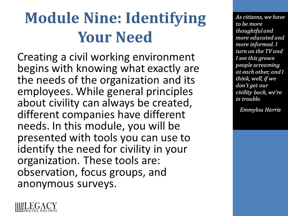 Module Nine: Identifying Your Need