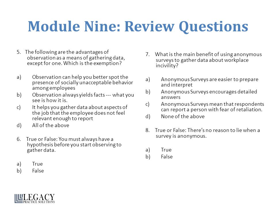 Module Nine: Review Questions