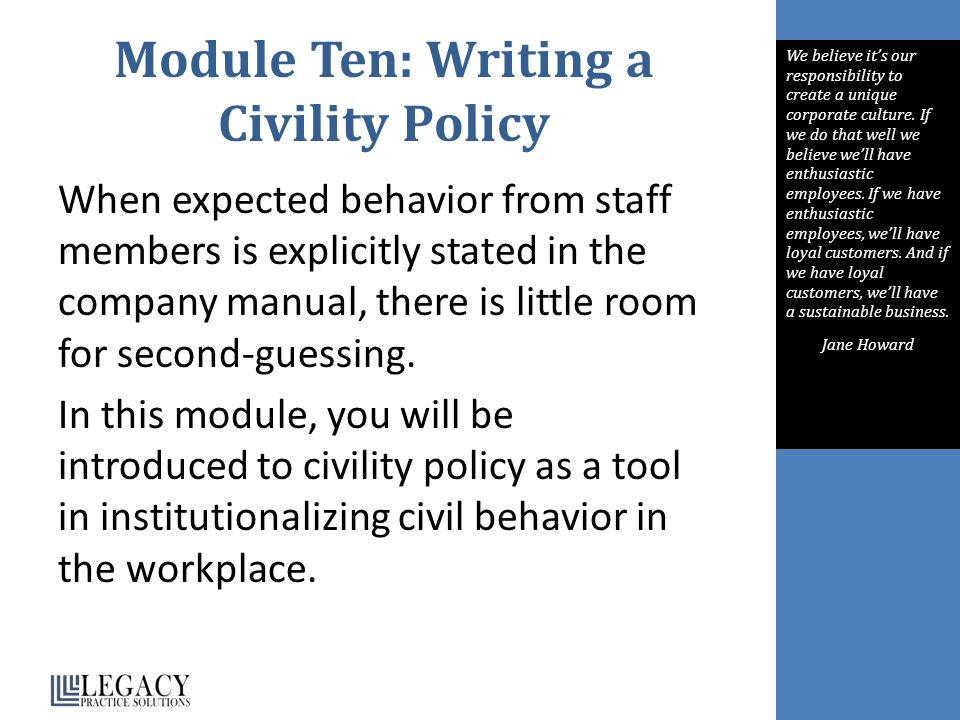 Module Ten: Writing a Civility Policy