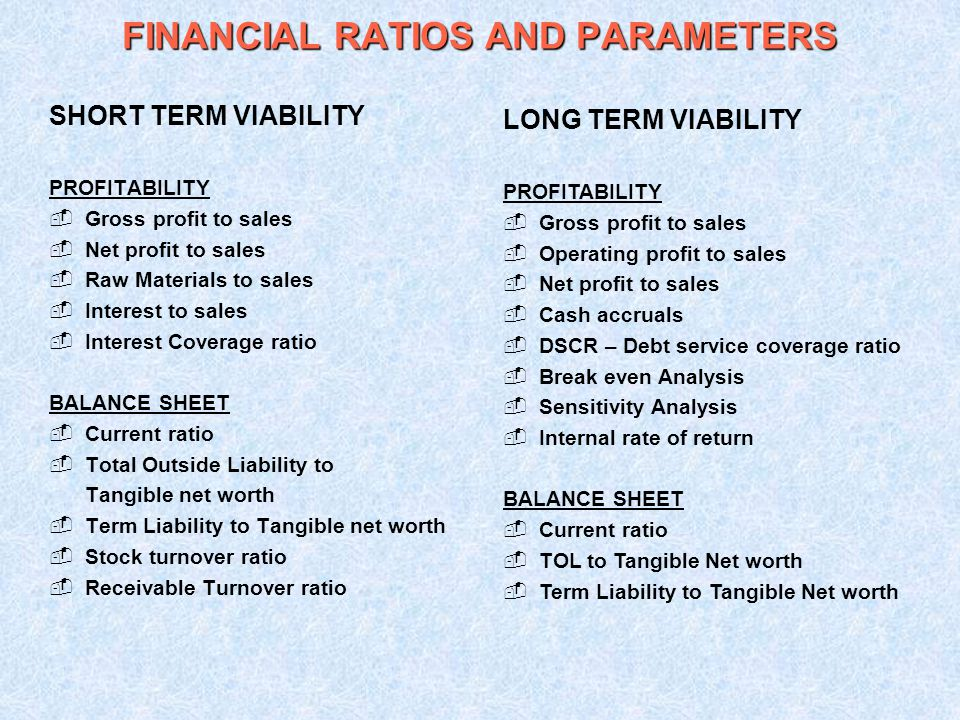 FINANCIAL RATIOS AND PARAMETERS