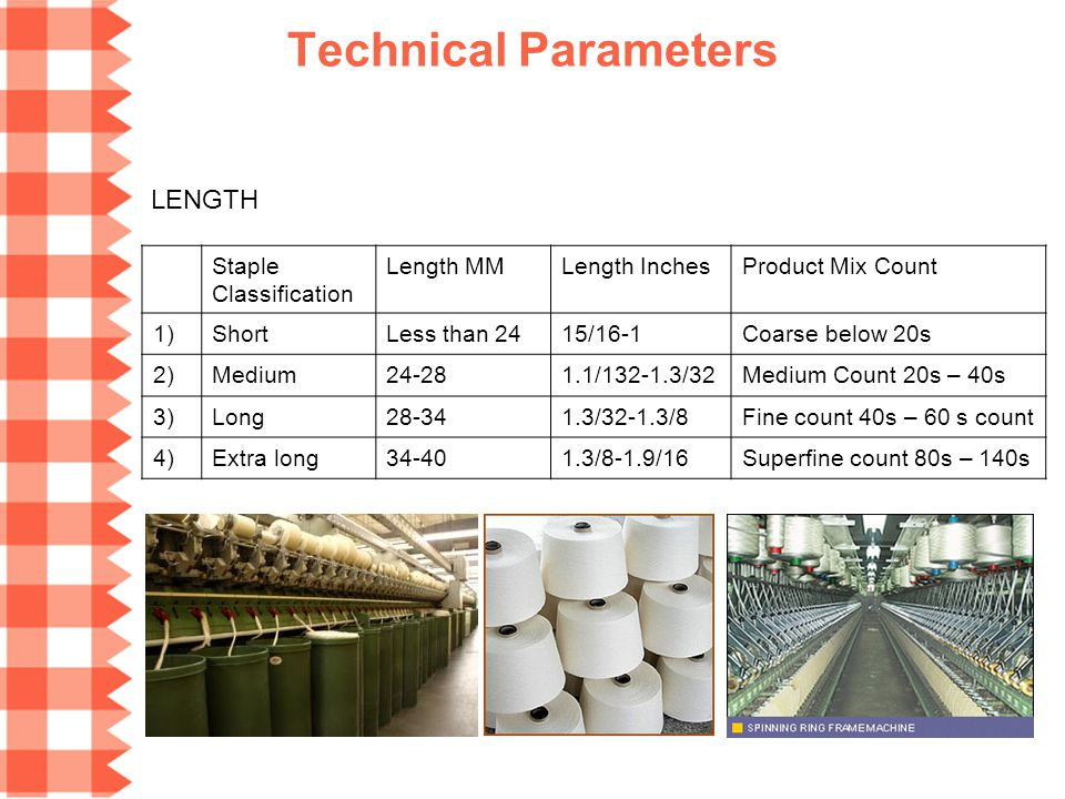 Technical Parameters LENGTH Staple Classification Length MM