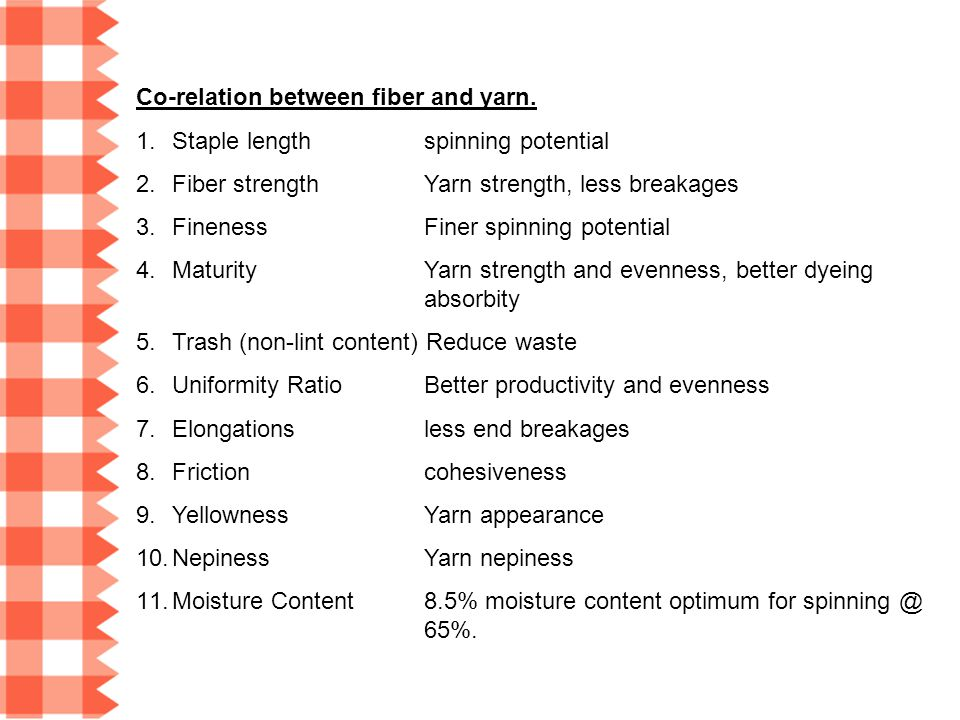 Co-relation between fiber and yarn.