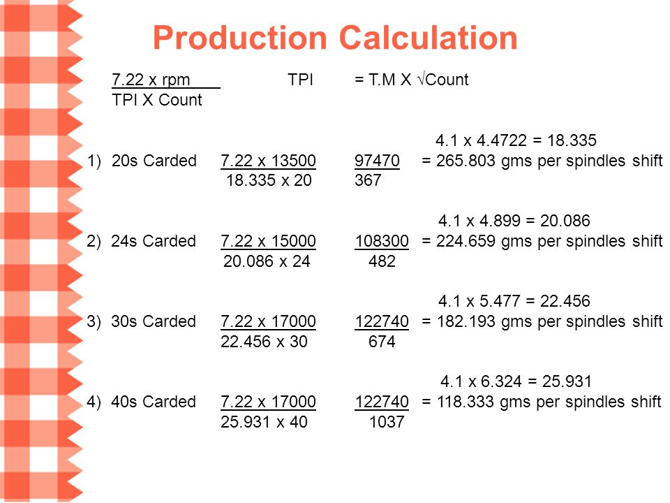 Production Calculation