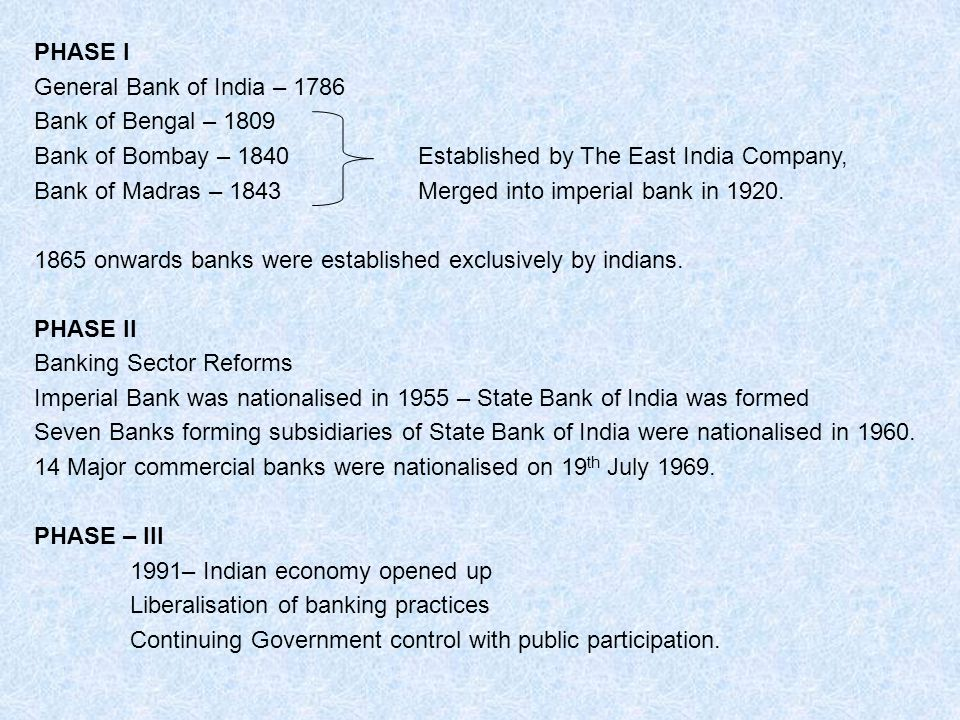 PHASE I General Bank of India – 1786. Bank of Bengal – 1809. Bank of Bombay – 1840 Established by The East India Company,