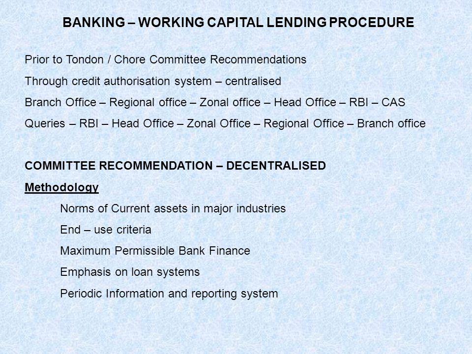 BANKING – WORKING CAPITAL LENDING PROCEDURE