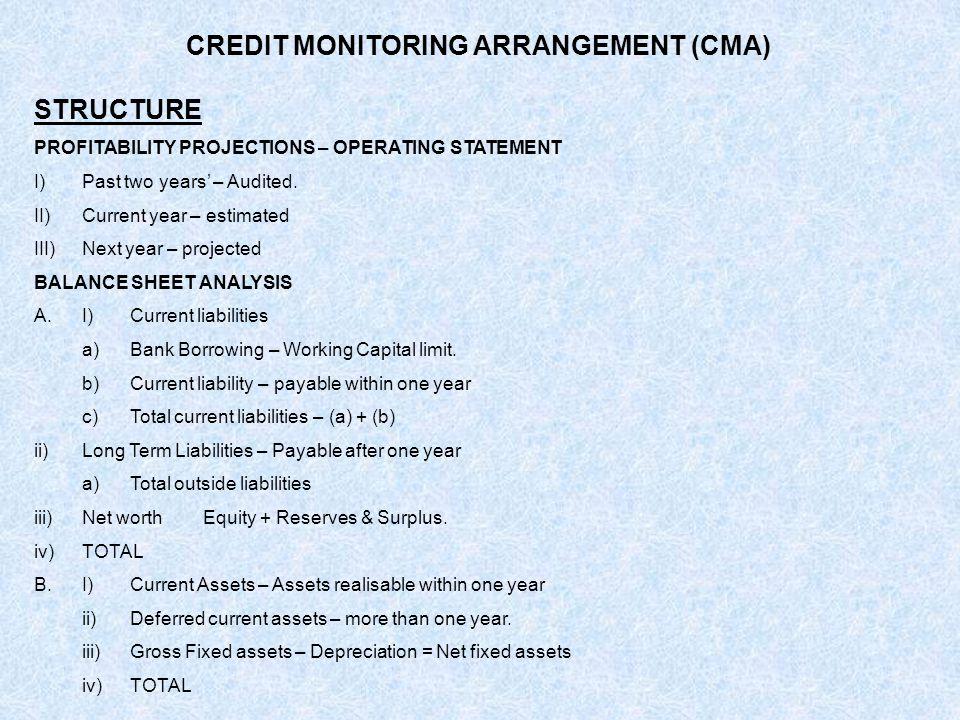 CREDIT MONITORING ARRANGEMENT (CMA)