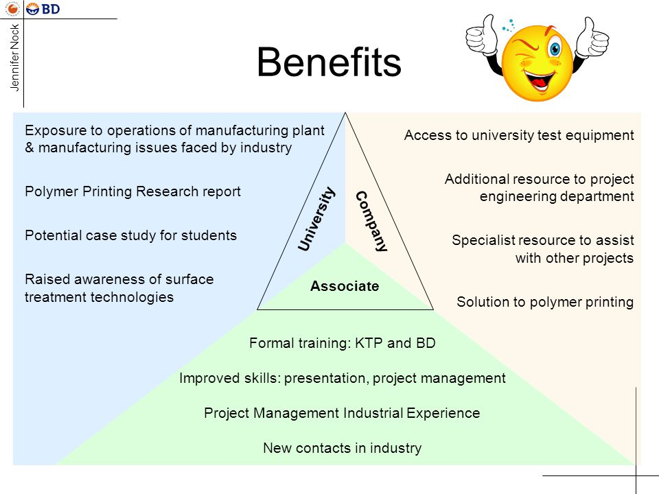 Benefits Exposure to operations of manufacturing plant