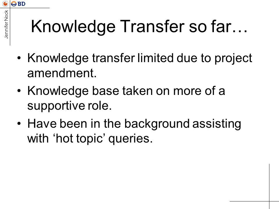 Knowledge Transfer so far…
