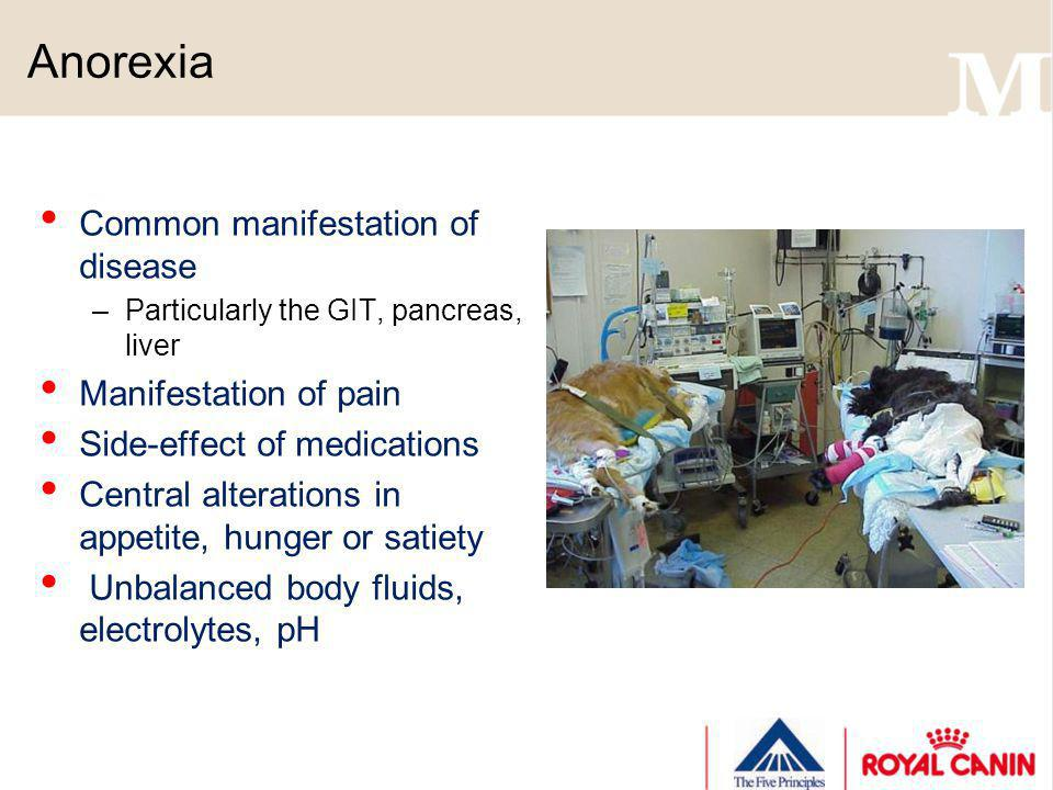 Anorexia Common manifestation of disease Manifestation of pain