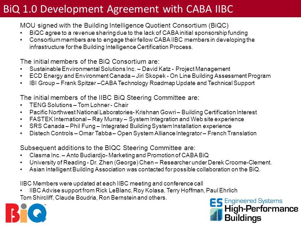 BiQ 1.0 Development Agreement with CABA IIBC