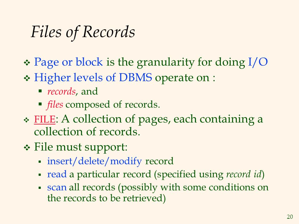 Files of Records Page or block is the granularity for doing I/O