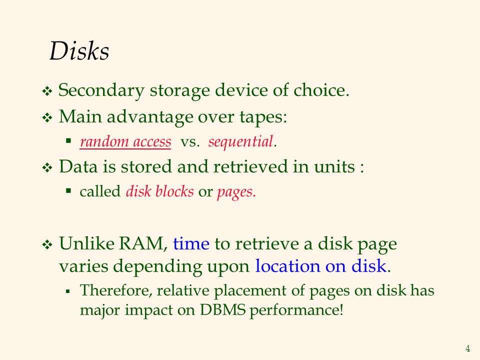 Disks Secondary storage device of choice. Main advantage over tapes: