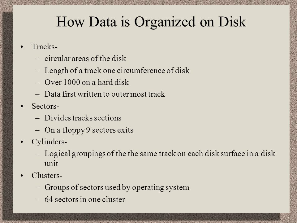 How Data is Organized on Disk