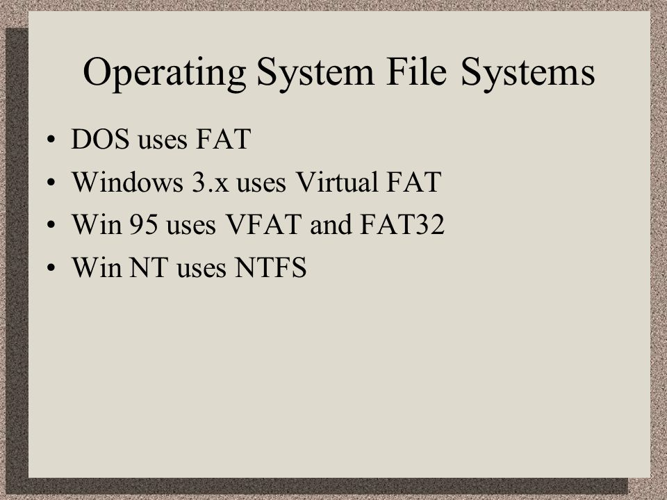 Operating System File Systems