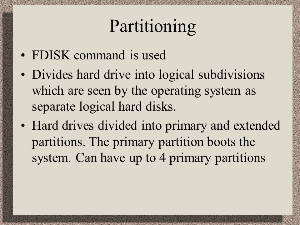 Partitioning FDISK command is used