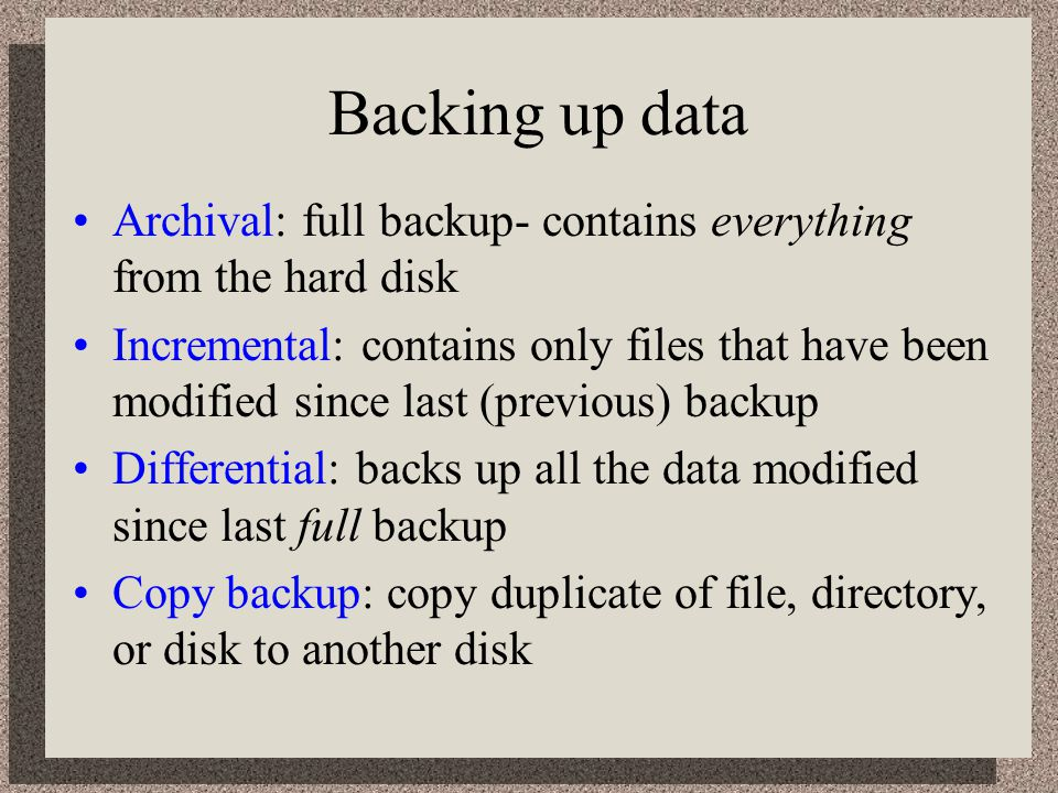 Backing up data Archival: full backup- contains everything from the hard disk.