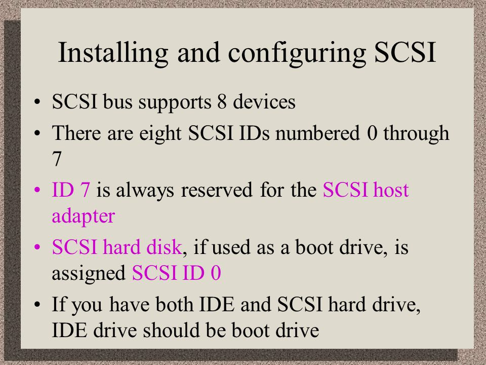 Installing and configuring SCSI