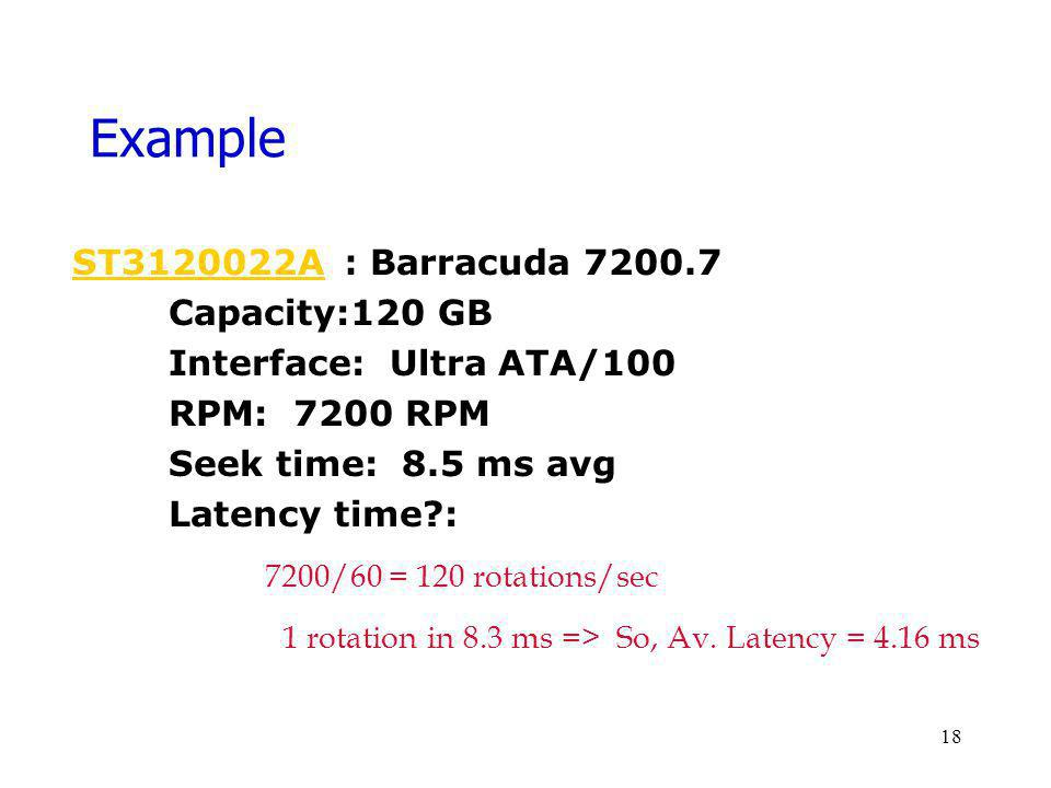Example ST3120022A : Barracuda 7200.7 Capacity:120 GB