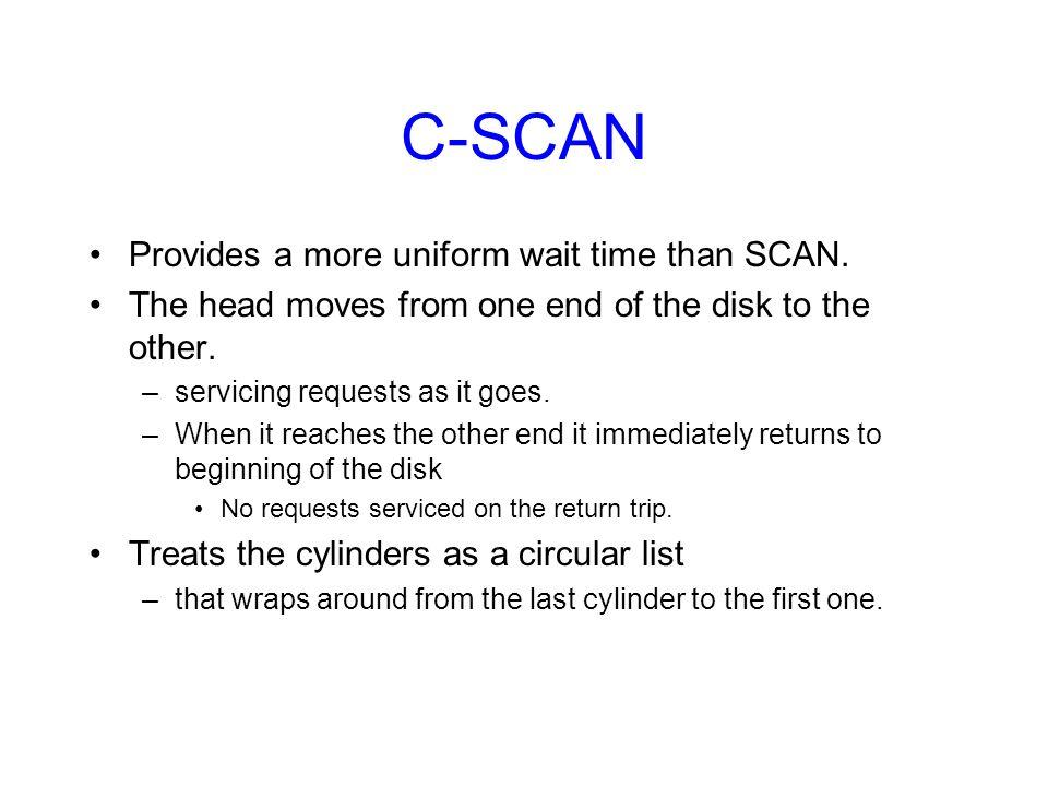 C-SCAN Provides a more uniform wait time than SCAN.