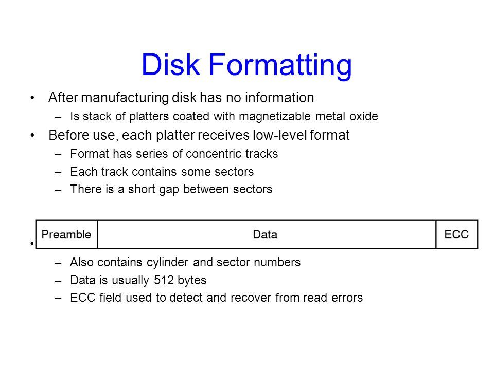 Disk Formatting After manufacturing disk has no information