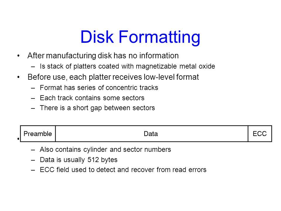 Disk Formatting After manufacturing disk has no information