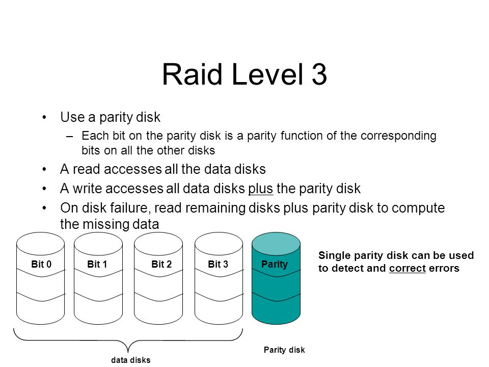 Raid Level 3 Use a parity disk A read accesses all the data disks