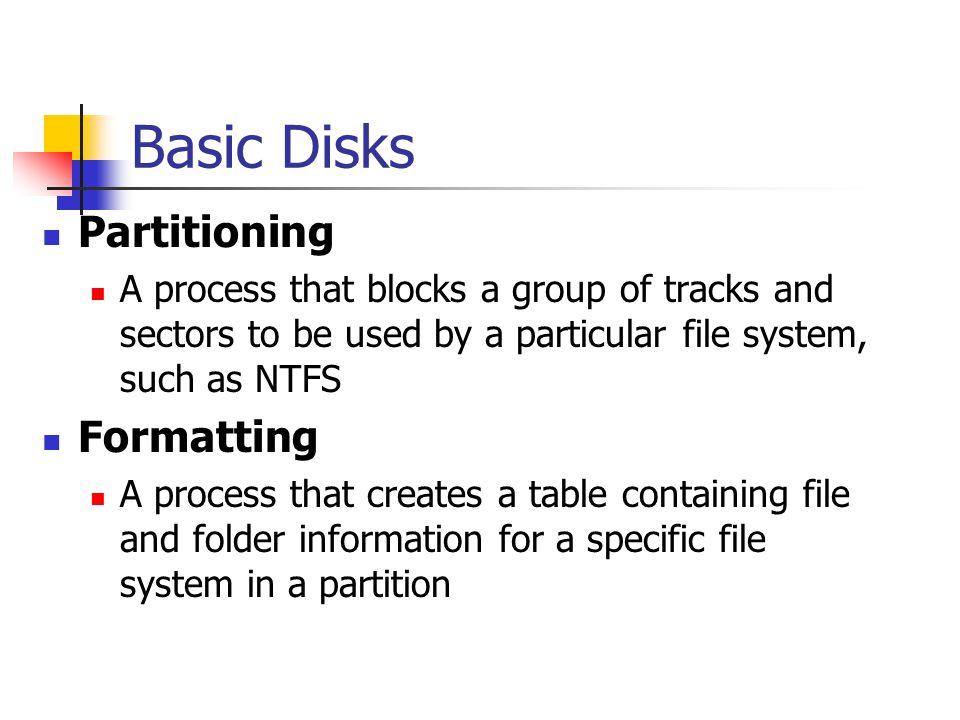 Basic Disks Partitioning Formatting