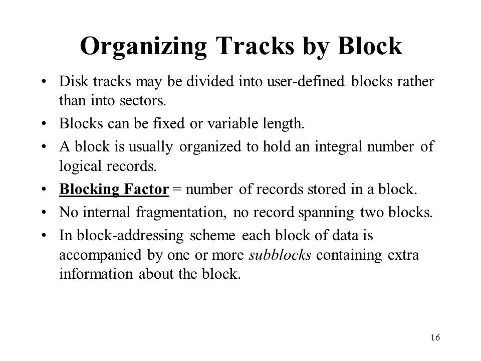 Organizing Tracks by Block