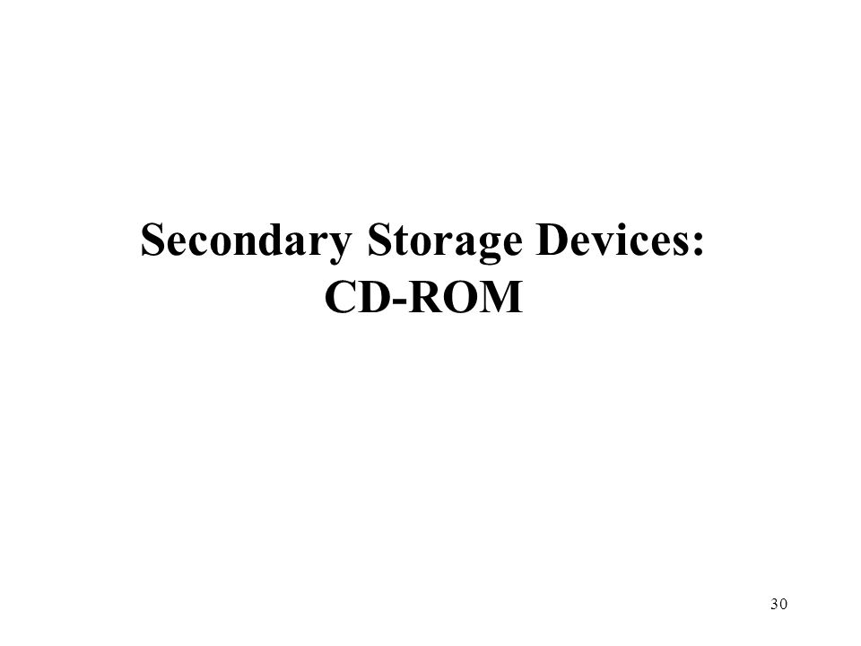 Secondary Storage Devices: CD-ROM