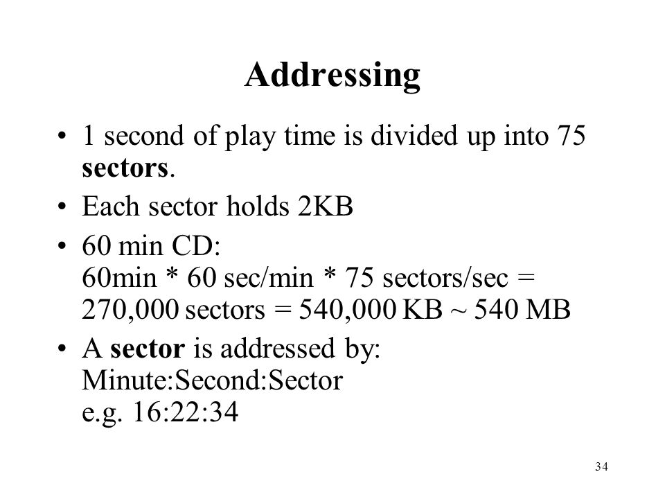 Addressing 1 second of play time is divided up into 75 sectors.