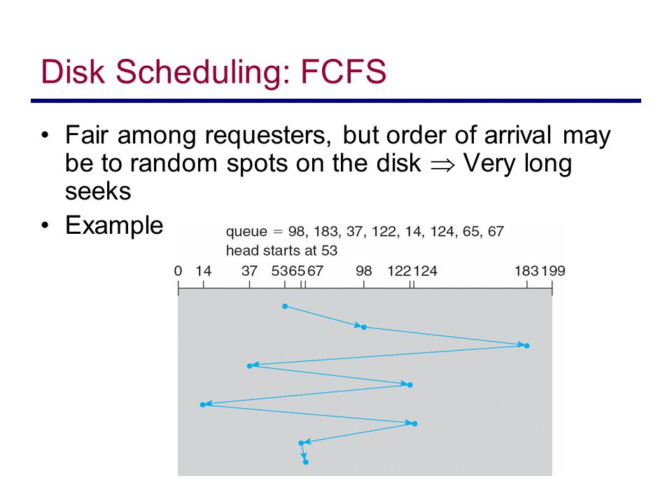 Disk Scheduling: FCFS Fair among requesters, but order of arrival may be to random spots on the disk  Very long seeks.