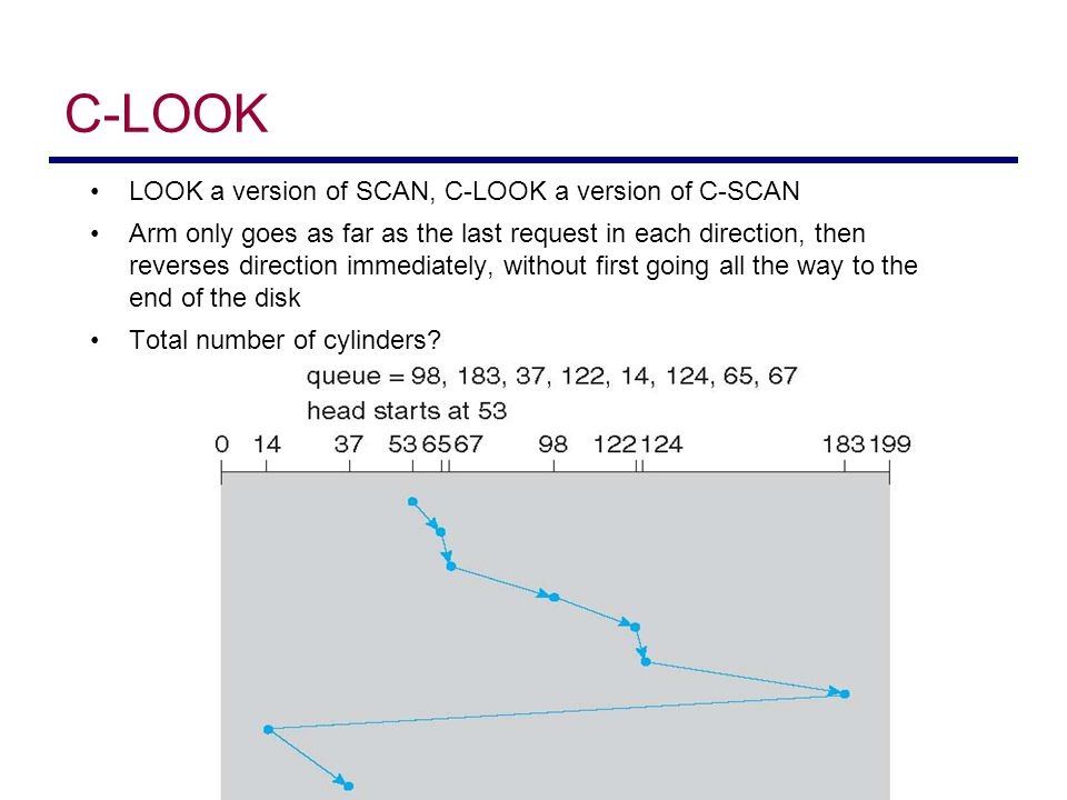 C-LOOK LOOK a version of SCAN, C-LOOK a version of C-SCAN