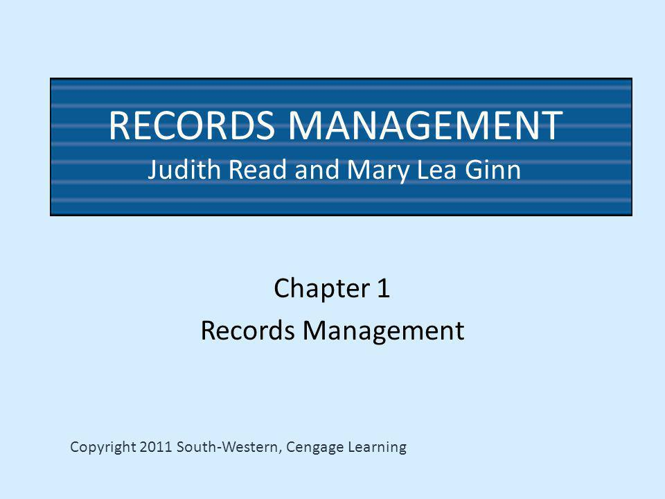 Chapter 1 Records Management