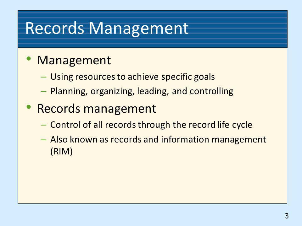 Records Management Management Records management
