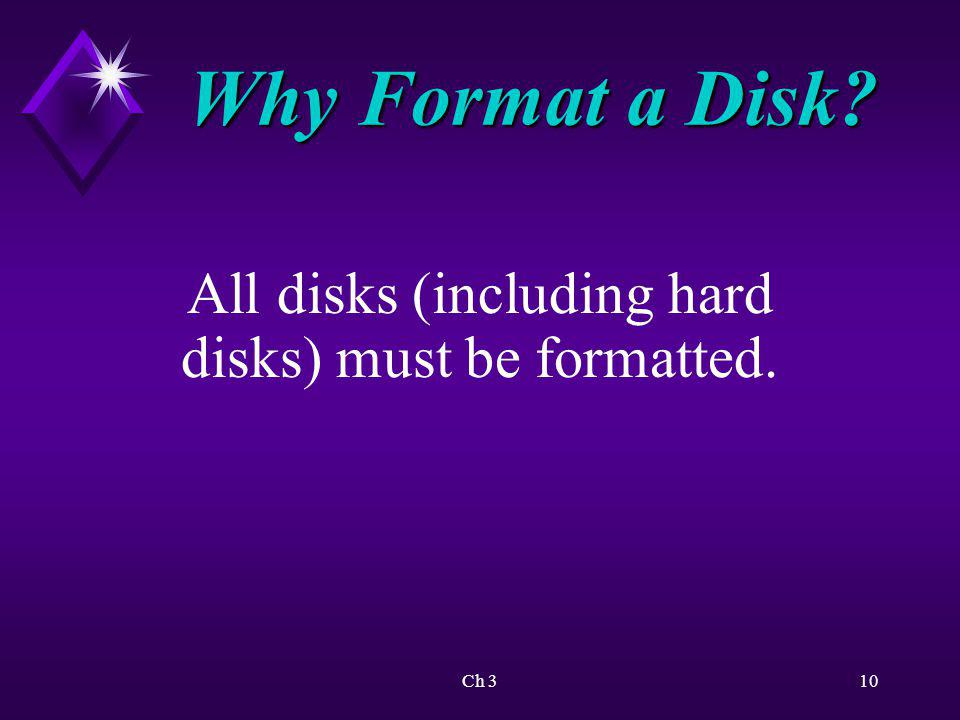 Why Format a Disk All disks (including hard disks) must be formatted.