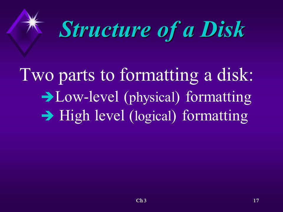Structure of a Disk Two parts to formatting a disk:
