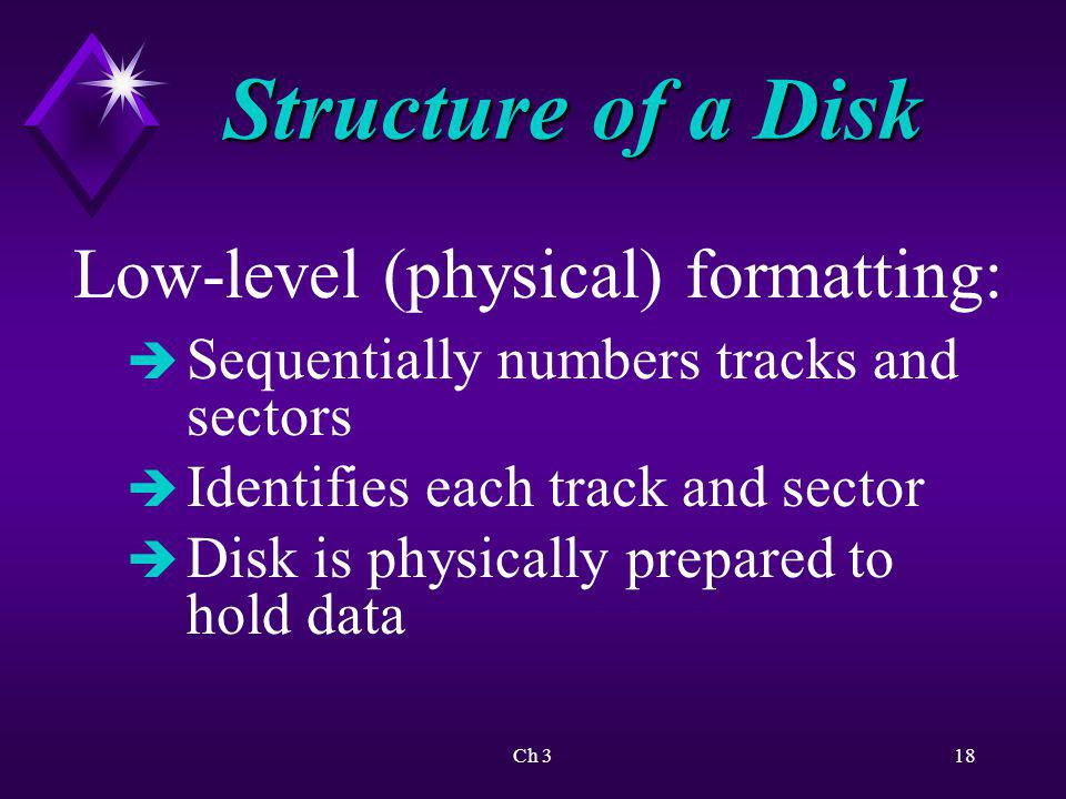Structure of a Disk Low-level (physical) formatting: