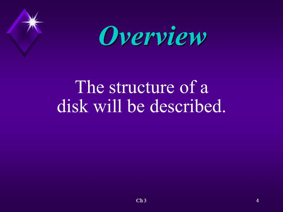 Overview The structure of a disk will be described. Ch 3