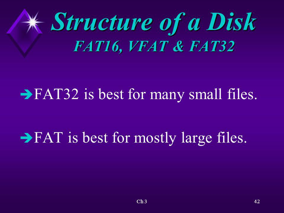 Structure of a Disk FAT16, VFAT & FAT32